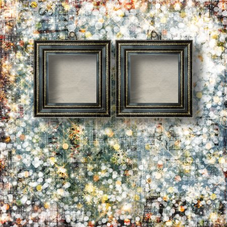 Old Victorian frames on the abstract winter background with conf