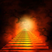 """Постер, картина, фотообои """"лестница, приводящая к небесам или аду. свет в конце бочки"""""""