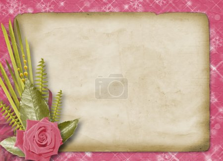 Vintage postcard for congratulation with roses and ribbons