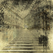 """Постер, картина, фотообои """"Причудливый город со старой каменной лестнице на древней бумаги backgroun"""""""
