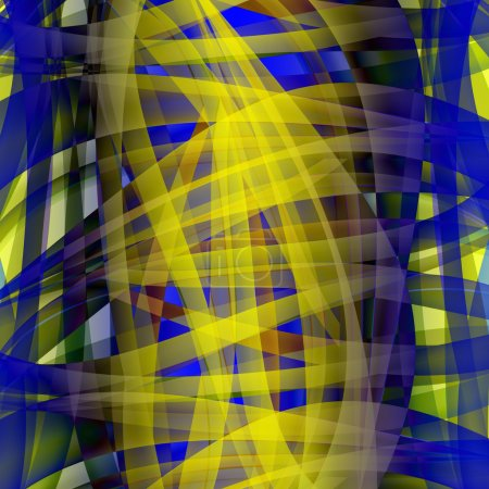 Photo pour Modèle chaotique abstrait avec des lignes courbes translucides colorées - image libre de droit