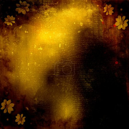Abstract grunge background with bunch of flowers