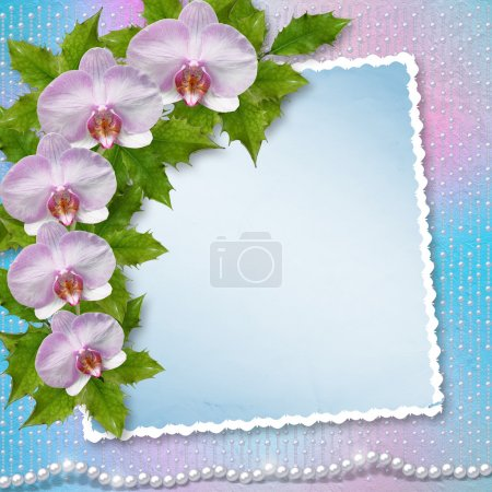 Greeting card with beautiful branch orchid and pearls for a wedd