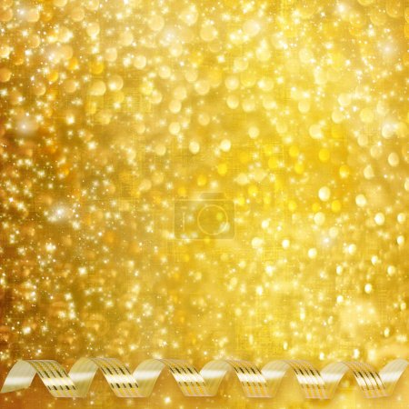 Photo for Gold paper horizontal ribbon on abstract snowy background fetti - Royalty Free Image