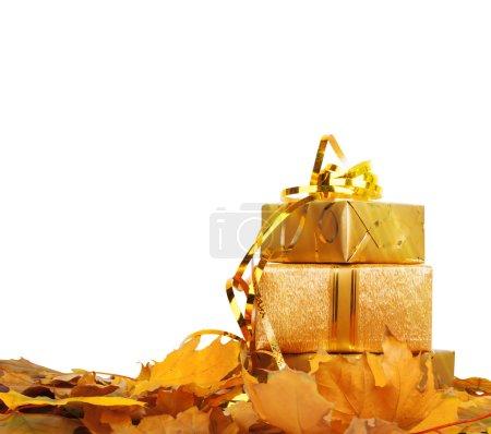 Photo pour Coffret cadeau en papier d'emballage doré avec feuilles d'automne sur fond blanc isolé brillant - image libre de droit