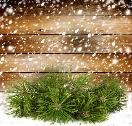 Photo for Snowy pine branch on the background of the old wooden walls - Royalty Free Image