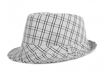 Photo for Monochrome checked hat for the summer on an isolated background - Royalty Free Image