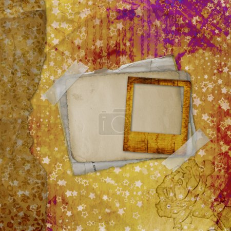 Grunge ancient used background in scrapbooking style with old ar