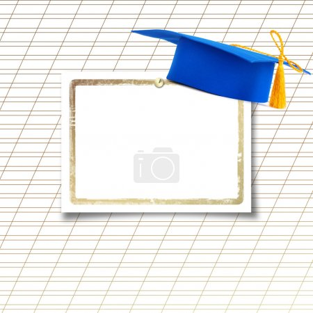 Mortar board or graduation cap with paper leaf  on the backgroun