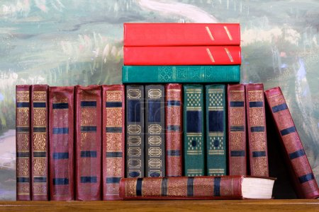 Richly decorated volumes of books
