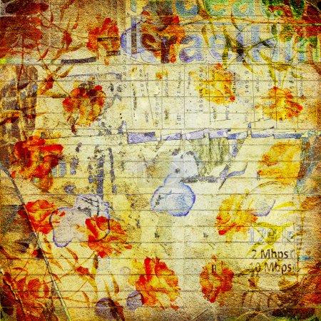 Photo pour Grunge fond abstrait avec de vieilles affiches déchirées avec du texte flou - image libre de droit