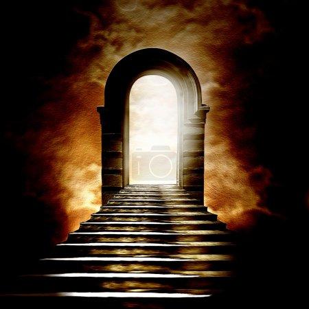 Photo pour Escalier menant au paradis ou à l'enfer. Lumière au bout du tunnel - image libre de droit