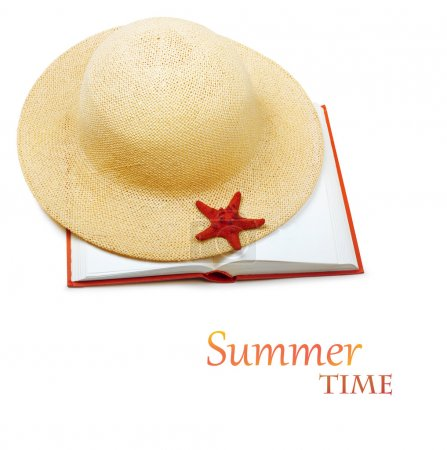 Straw hat with book and starfish