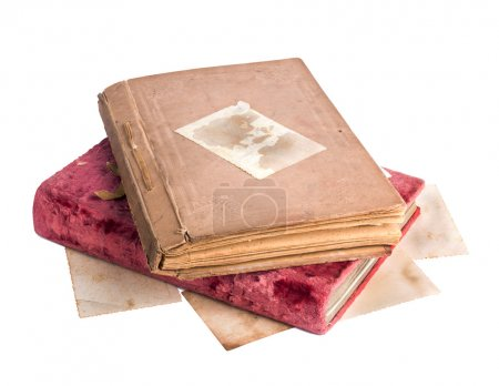 Vintage old photo albums isolated on white background