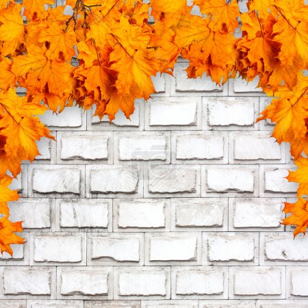 Photo for Bright orange autumn leaves on the background of an old brick wall - Royalty Free Image