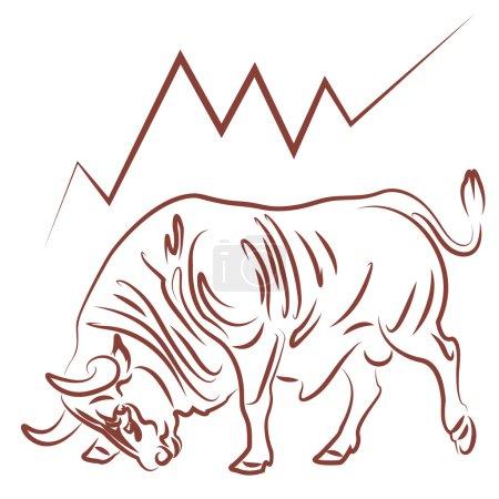 Illustration pour Image taureau et illustration vectorielle haussière des tendances boursières - image libre de droit