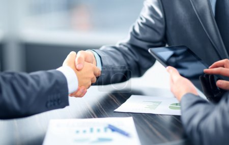 Photo for Business shaking hands in office - Royalty Free Image