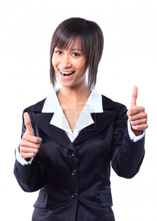 Success woman isolated giving thumbs up sign