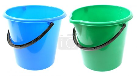 two empty bucket on white background