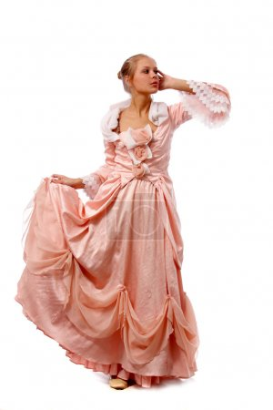 Beautiful young lady in pink gown