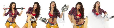 Sexy young woman shows construction tools