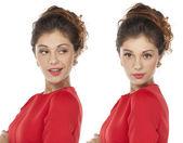 Portrét mladé ženy krásné dvojčata