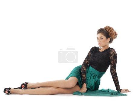 Fashion model in green dress