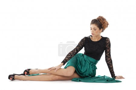 Fashion model in green dress