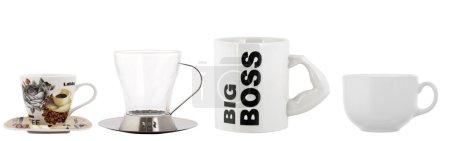 Photo pour Quatre tasses isolés sur blanc - image libre de droit