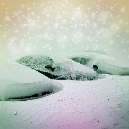 snowly winter car parking