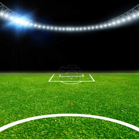 Soccer stadium with thw lights