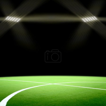 Photo pour Terrain de football avec projecteurs lumineux - image libre de droit