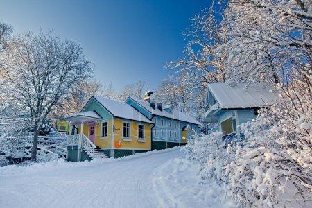 Photo pour Rue de Moomin World, ville de Naantali en Finlande - image libre de droit