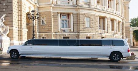 Luxury white limousine