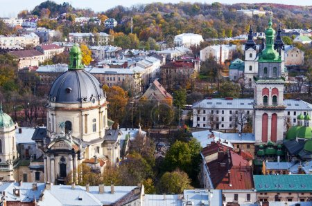 Beautiful view from the Town Hall, Lviv, Ukraine