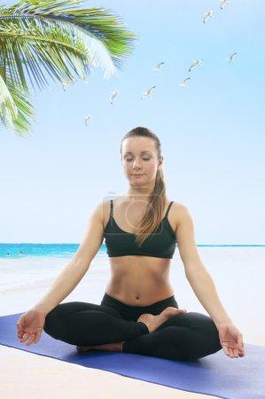 Woman in Easy yoga Pose (Sukhasana), asana