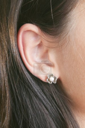 Silver earrings with pearls and marcasite