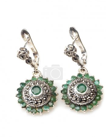 Silver earrings with emerald