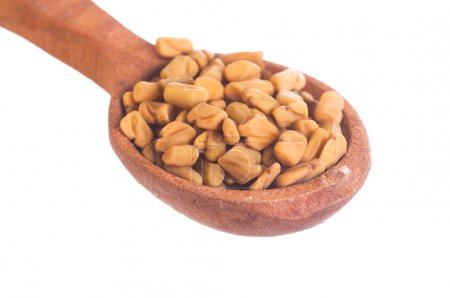 Fenugreek Seeds in wooden spoon isolated on white ...