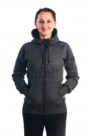 Woman in jacket with zipper