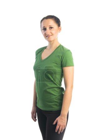 Pretty woman in green t-shirt