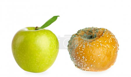 rotten apple and fresh green apple