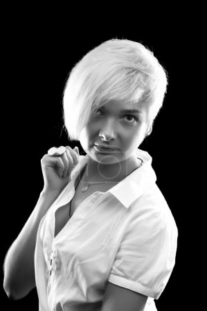 Woman with shirt hair in white shirt