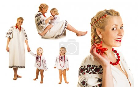 Ukrainian mother and daughter collage