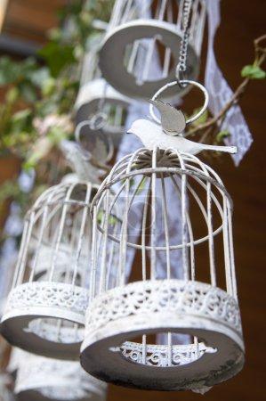 Photo pour Cages d'oiseaux décoratives vintage suspendues à une grue - image libre de droit