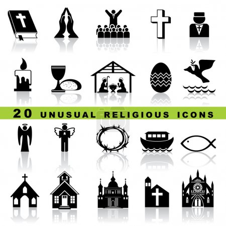 Photo for Set vector icons of christian religion sign and symbol - Royalty Free Image
