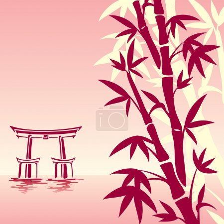 Illustration for Vector image of traditional Asian landscape in red colors - Royalty Free Image