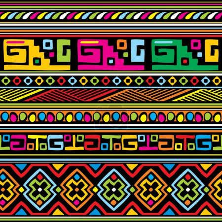 Illustration for Seamless vector background with color african ornament - Royalty Free Image
