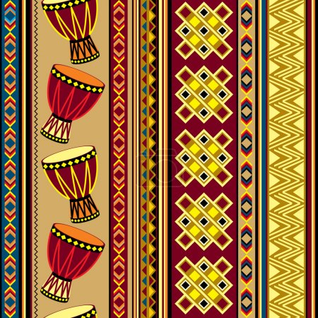 Illustration for Seamless vector background with african drum ornament - Royalty Free Image
