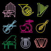 Set of vector icons musical instrumen from the luminous lines